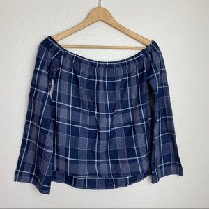 Cloth & Stone Plaid Checked Off the Shoulder Top